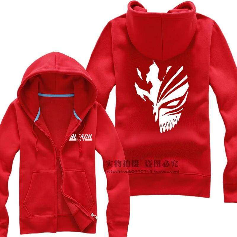 xcoser-de,Bleach Ichigo Mask Pattern Hoodie Mens Zip Up Hoodies,Hoodies