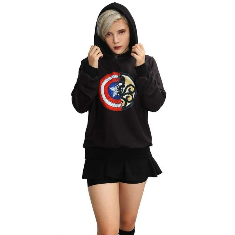 xcoser-de,Captain America and Hydra Combined Logo Hoodie Captain America 3 Cosplay Costume,Hoodies