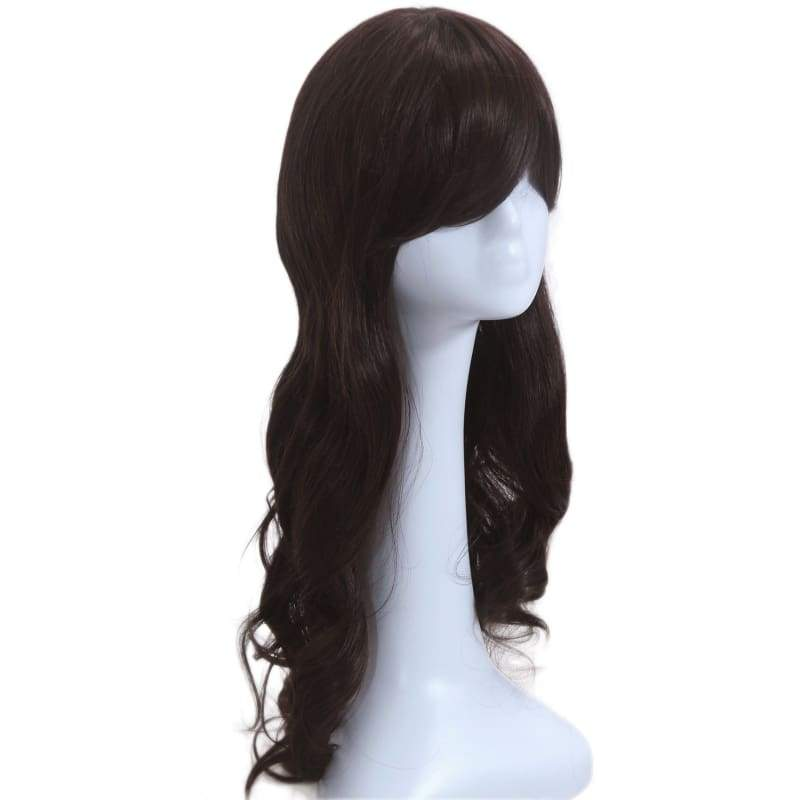 xcoser-de,Carmen Sandiego Wig Cosplay Costume Black Long Curly Hair Accessories,Wigs