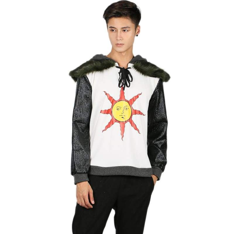 xcoser-de,Dark Souls Solaire Hoodie White Cotton & PU Leather Hoodie,Hoodies