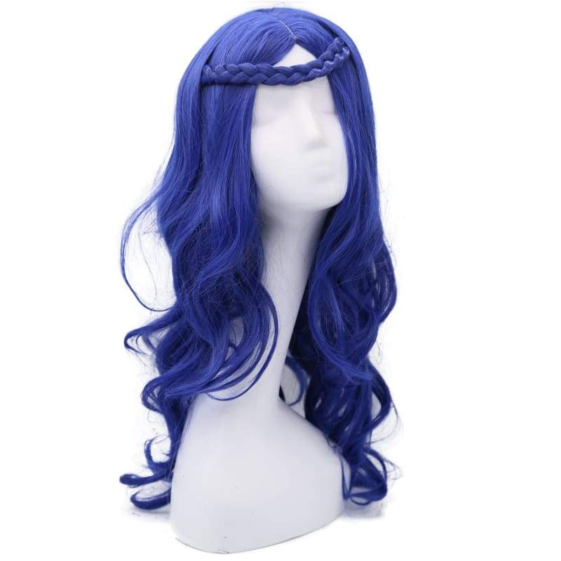 xcoser-de,Descendants Evie Wig movie Cosplay Costume Blue Long Curly Hair Accessories,Wigs