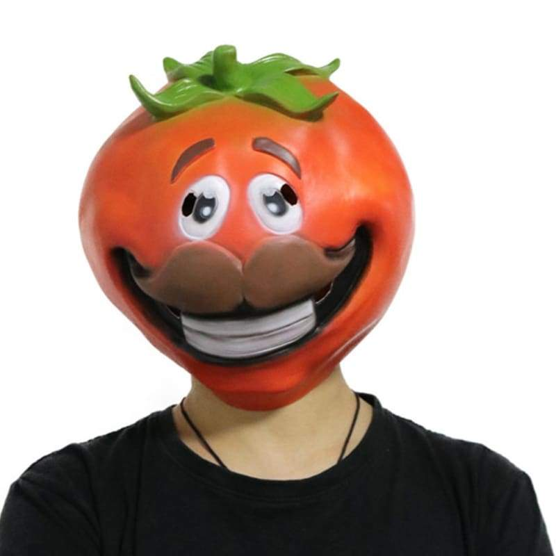 xcoser-de,Halloween Cosplay Fortnite Tomato Head Latex Mask,Mask