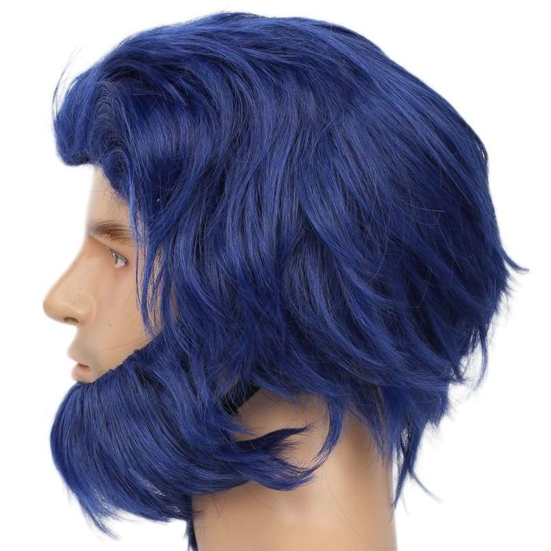 xcoser-de,Halloween X Men Beast Wig Movie Cosplay Costume Blue Short Hair Accessories Beard Props For Men,Wigs