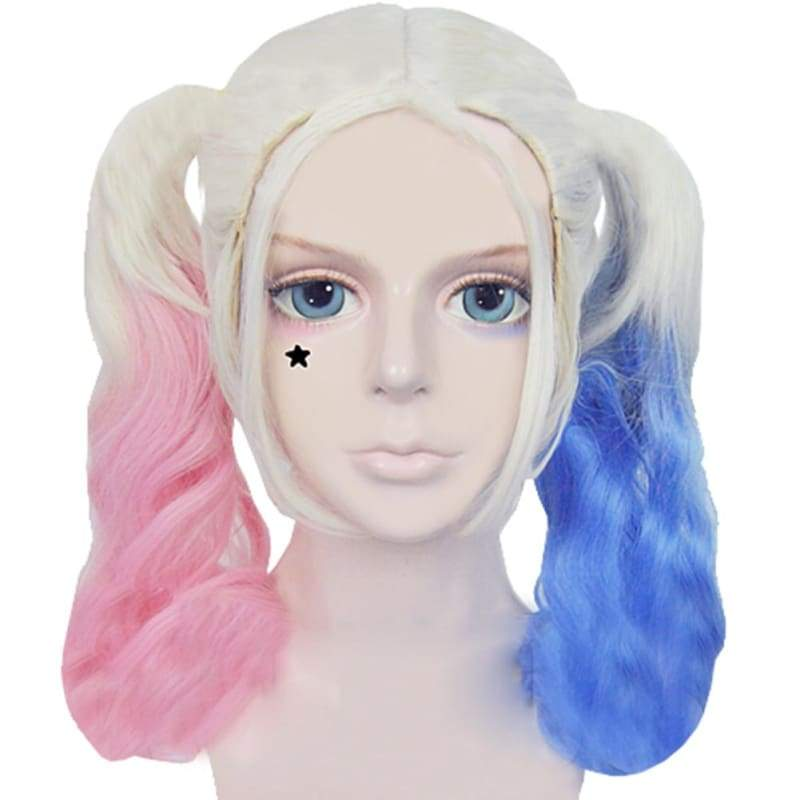 xcoser-de,Harley Quinn Wig Suicide Squad Harley Quinn Cosplay Pink Blue Gradient Ponytail Wig,Wigs