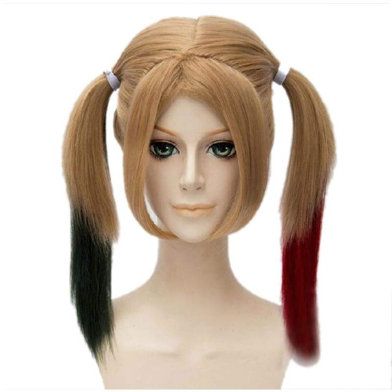 xcoser-de,Harley Quinn Wig Suicide Squad Movie Cosplay Brown Long Straight Wig With Red Black Bunches,Wigs
