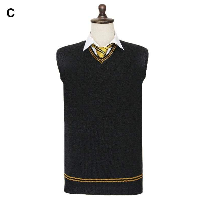 xcoser-de,Harry Potter V-neck Sweater COS Knitted Waistcoat Wool Vest Cosplay Costume For Adults,Costumes