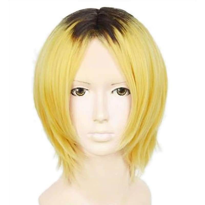 xcoser-de,Kenma Kozume Wig Haikyuu!! Cosplay Anime Blonde Mixed Black Costume Party Wig,Wigs