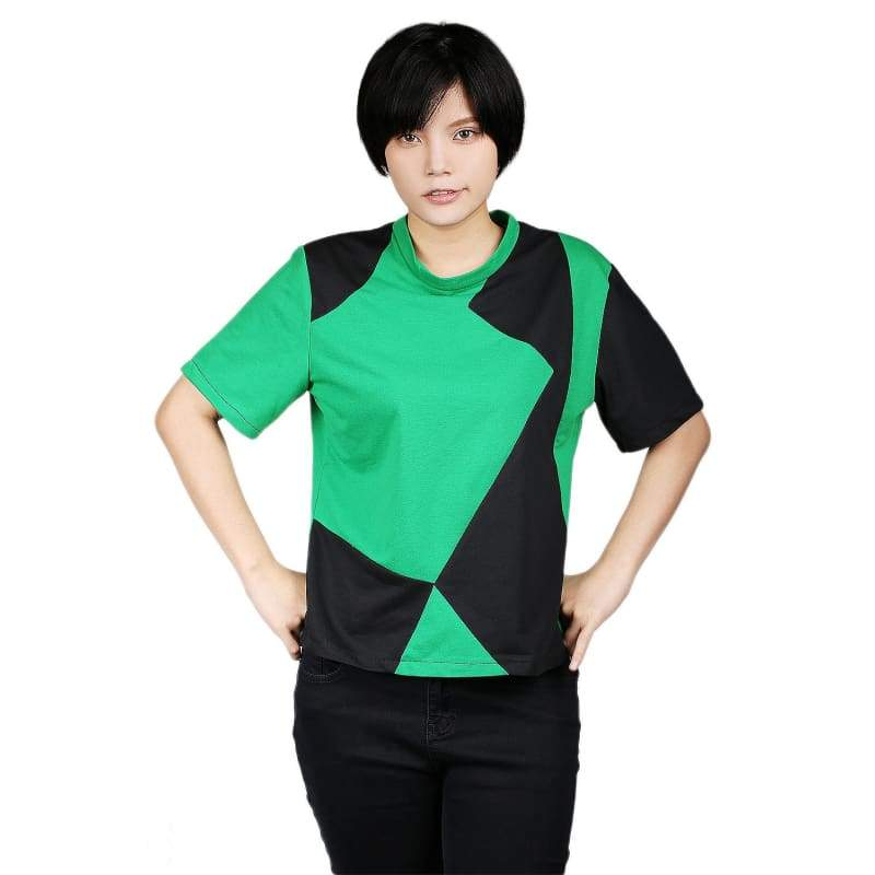 xcoser-de,Kim Possible Shego T-shirt Green and Black Cotton T-shirt Kim Possible Cospaly Costume,T-shirts