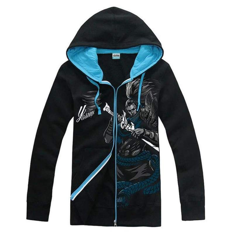 xcoser-de,League of Legend Cosplay Hoodie Yasuo Zip Hoodie For Man Glowing Style(Only For the United States),Hoodies