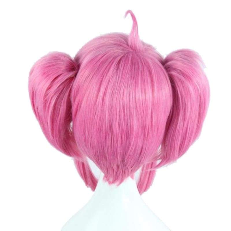 xcoser-de,Lux Wig League of Legends Lux Cosplay Short Pink Wig with Bunches Oblique Bangs Costume Wig,Wigs