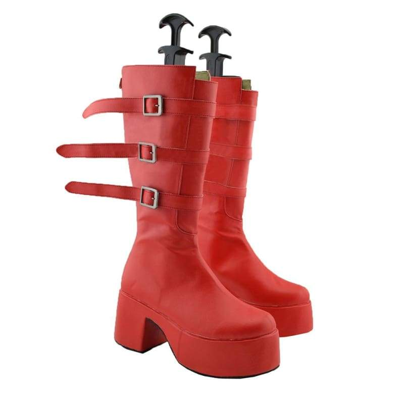 xcoser-de,One Piece Perona Cosplay Shoes Anime Red Leather Platform Knee High Boots Custom Made,Boots