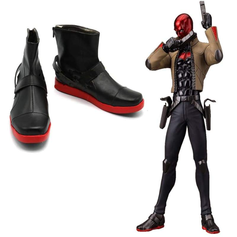 xcoser-de,Red Hood Shoes Batman Under the Red Hood Jason Todd Cosplay Leather Shoes,Boots
