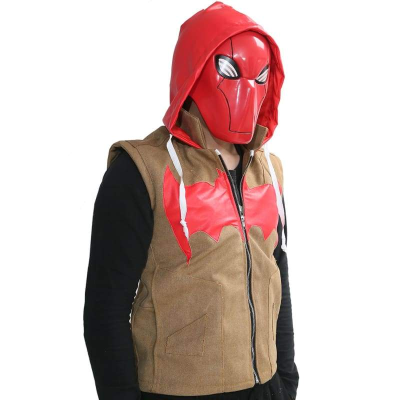 xcoser-de,Red Hood Vest Fashion Mens PU Canvas Vest with Hood Batman Under the Red Hood Cosplay Costume,Costumes