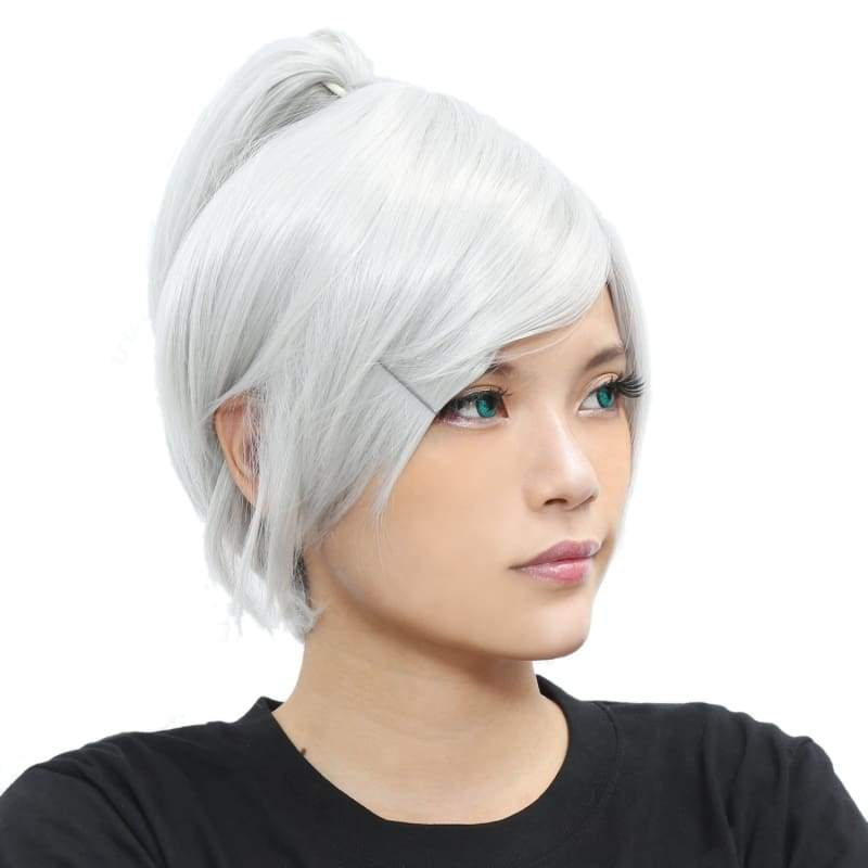 xcoser-de,Riven Wig League of Legends Riven Cosplay Short Silver Grey Wig,Wigs