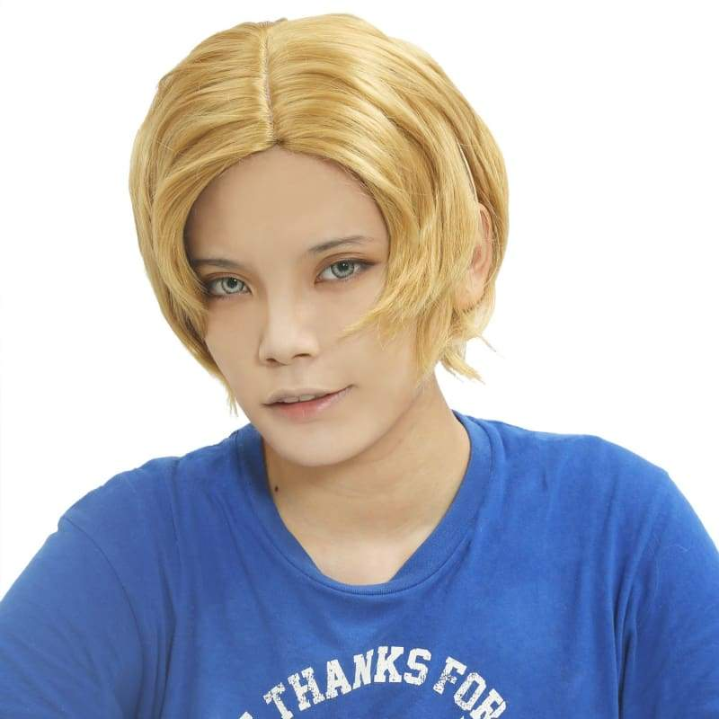 xcoser-de,Sabo Wig One Piece Sabo Cosplay Short Curly Golden Wig,Wigs