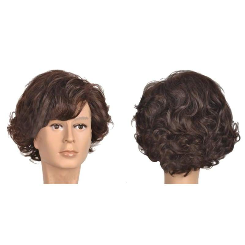 xcoser-de,Sherlock: the Abominable Bride Cosplay Sherlock Costume Movie Short Curly Brown Wig,Wigs