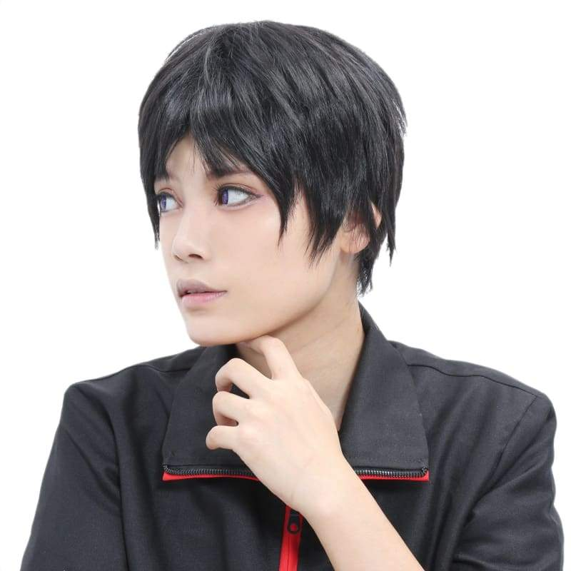 xcoser-de,Short Black Wig Short Straight Heat Resistant Synthetic Hair Universal Black Anime Wig,Wigs