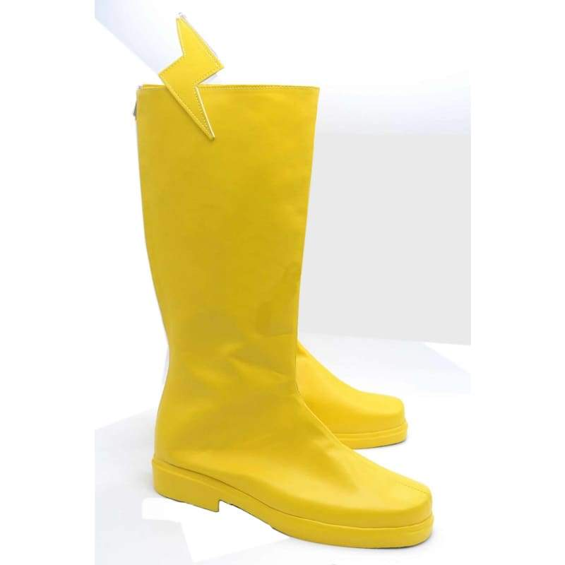 xcoser-de,The Flash Cosplay Boots Yellow PU Boots with Flash Logo,Boots