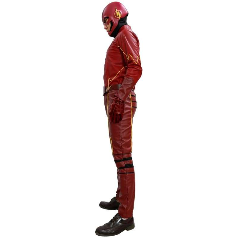 xcoser-de,The Flash Costume Season 2 Suit Deluxe Red Leather Outfit With Chest Badge Barry Allen Cosplay,Costumes