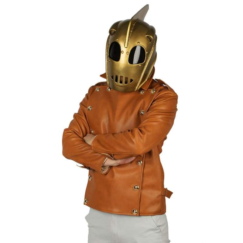 xcoser-de,The Rocketeer Cosplay Costume Cliff Secord Brown Leather Jacket,Jackets