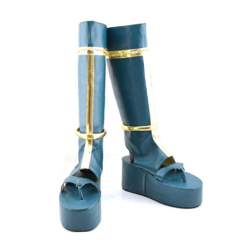 xcoser-de,Touken Ranbu Online Tsurumaru Kuninaga Cosplay Shoes Dark Blue PU Leather Knee High Boots Custom Made,Boots