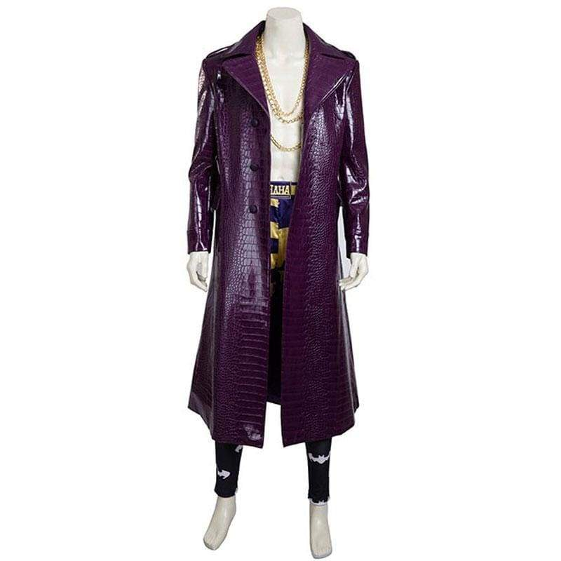 Updated Suicide Squad Joker Costume Purple PU Leather Long Cosplay Costume