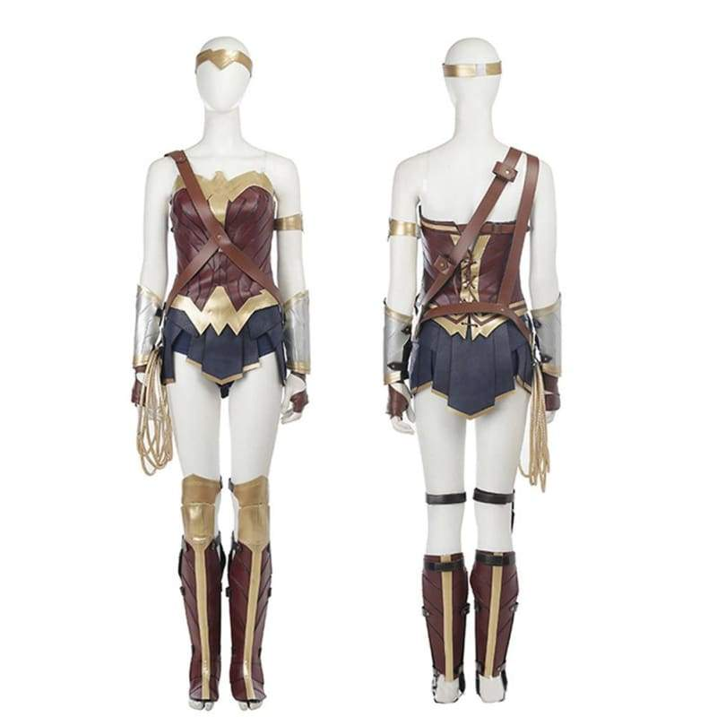 xcoser-de,Updated Wonder Woman PU Leather Sleeveless Cosplay Costume,Costumes