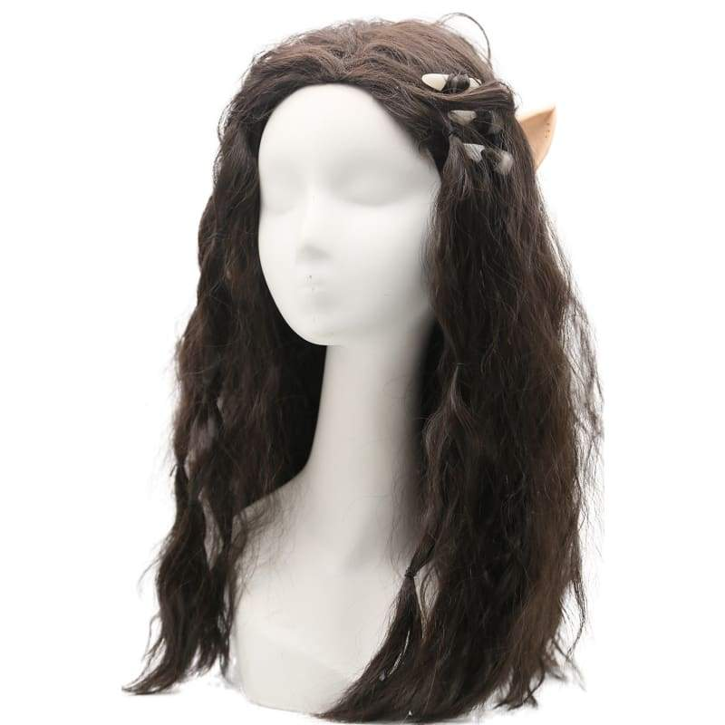 xcoser-de,Warcraft Garona Wig Movie Cosplay Costume Brown Long wavy Curly Hair Accessories,Wigs