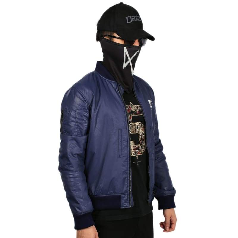xcoser-de,Watch Dogs 2 Marcus Holloway Jacket Navy Blue Zipper Jacket Marcus Holloway Cosplay Costume,Costumes