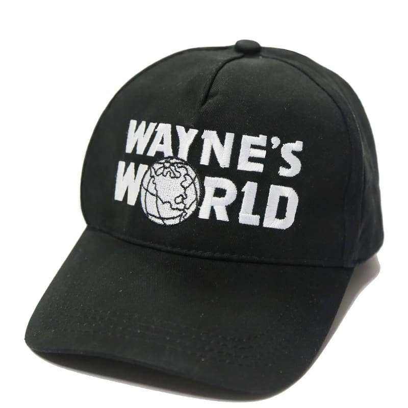 xcoser-de,Wayne's World Black Embroidered Baseball Cap Hat Cosplay Costume,Hats