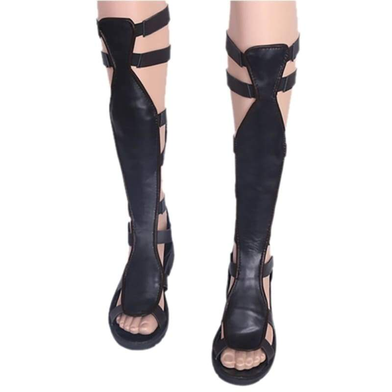 xcoser-de,Wonder Woman Boots Black PU Leather Cosplay Boots,Boots