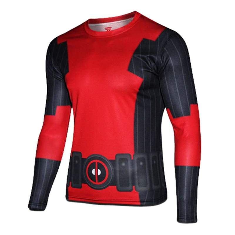xcoser-de,X-Men Deadpool Cosplay Long Sleeve T-Shirt Teenager Cooldry Polyester Tshirt,T-shirts