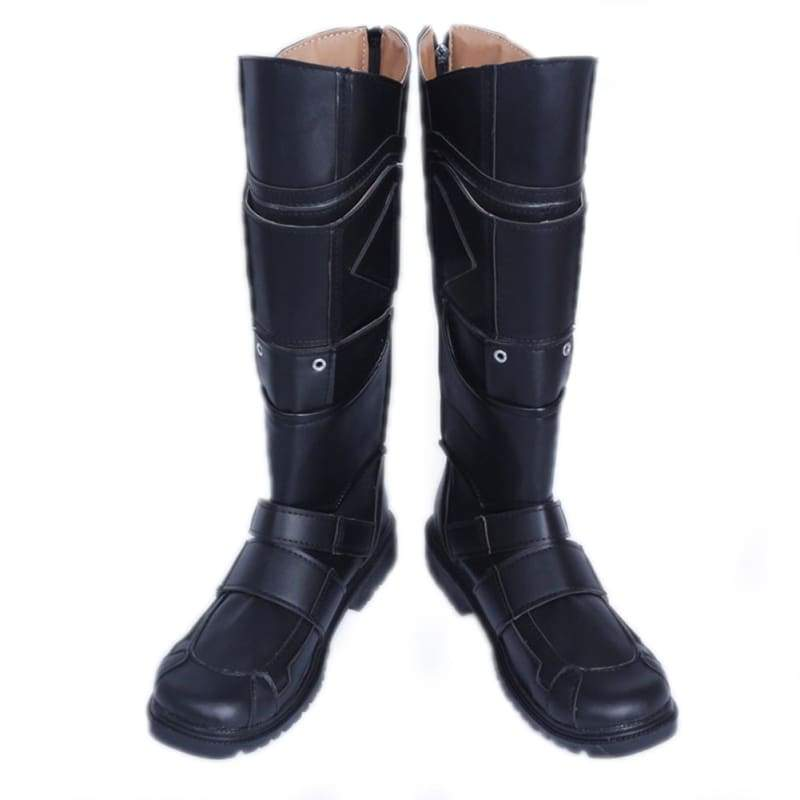 xcoser-de,X-Men Logan Boots Deluxe Black PU Leather Knee-high Boots Wolverine Cosplay Shoes,Boots