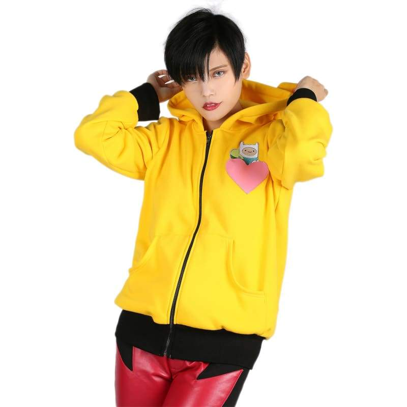 xcoser-de,Xcoser Adventure Time Hoodie Yellow Zip-up Hooded Sweatshirt Anime Cosplay Costume,Hoodies