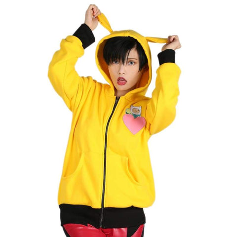xcoser-de - Xcoser Adventure Time Hoodie Yellow Zip-up Hooded Sweatshirt Anime Cosplay Costume - Hoodies - vendor-unknown