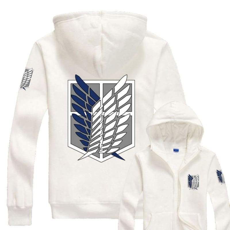 xcoser-de,Xcoser Attack On Titan Hoodie AOT Wings of Liberty Corps Zip Up Hoodie,Hoodies