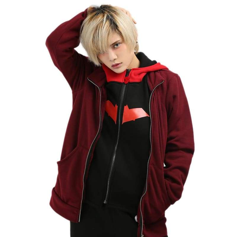 xcoser-de,Xcoser Batman Series Red Hood Cotton Hoodie Faux Twinset Cosplay Costume,Hoodies