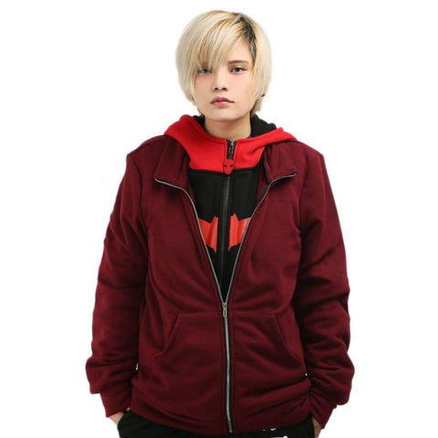 Xcoser Batman Series Red Hood Cotton Hoodie Faux Twinset Cosplay Costume - xcoser-de