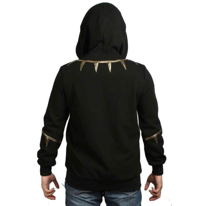 xcoser-de,XCOSER Black Panther Cosplay Erik Killmonger Black & Golden Hoodie Costume,Hoodies