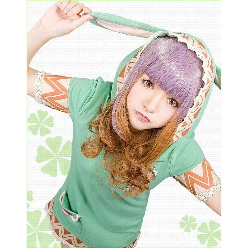 xcoser-de,Xcoser Costumes Date A Live Short Sleeve Long Shirt with Rabbit Ears Cosplay Dress,Costumes