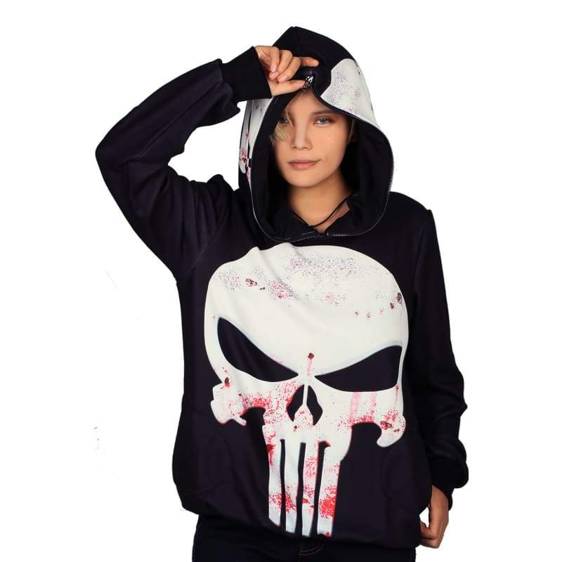 xcoser-de,Xcoser Daredevil Punisher Pullover Hoodie with Full Zip Hood Punisher Cosplay Costume Halloween Costume,Hoodies