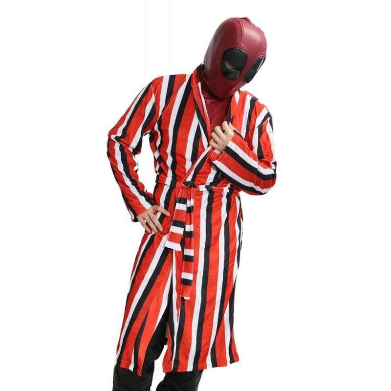 xcoser-de,Xcoser Deadpool Striped Bathrobe  Movie Cosplay Costume(Only For the United States),Costumes