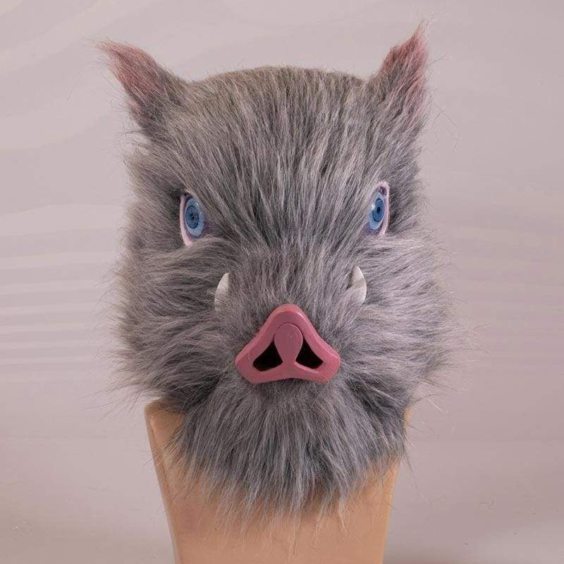 Xcoser Demon Slayer Inosuke Hashibira Grey Boar Mask Latex Anime Cosplay 2019