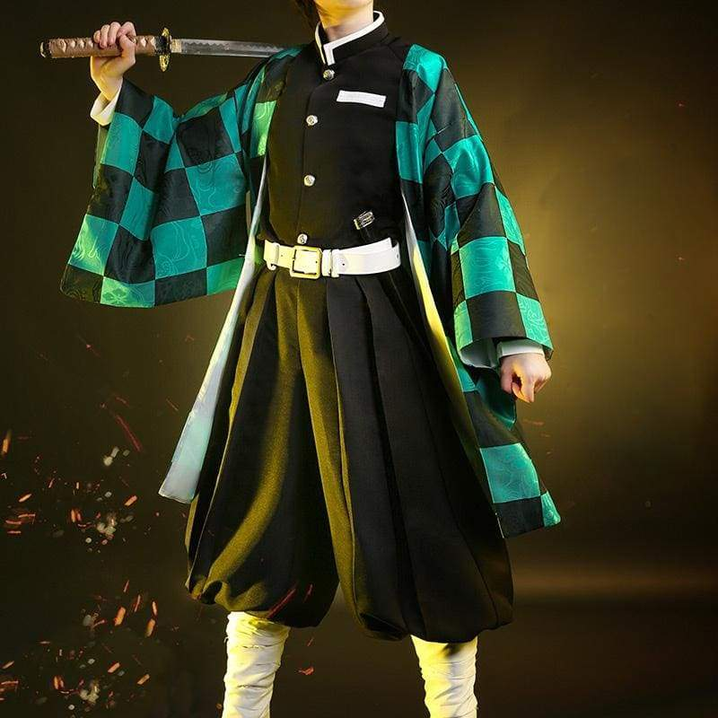 Xcoser Demon Slayer: Kimetsu no Yaiba Tanjiro Kamado Cosplay Costume - S(without Uniform) - Costumes 5