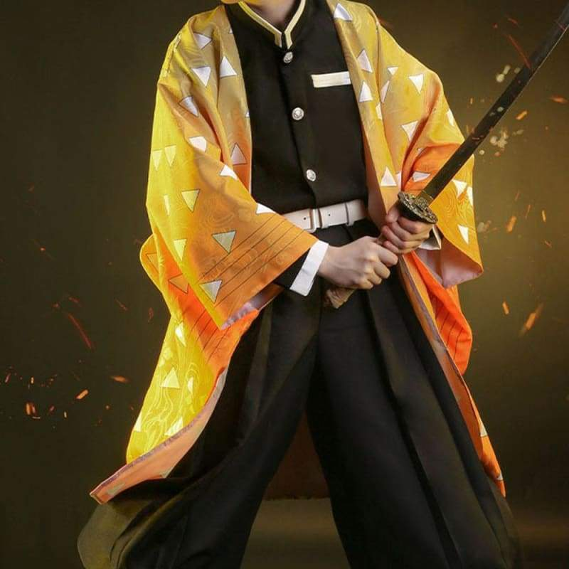 Xcoser Demon Slayer: Kimetsu no Yaiba Zenitsu Agatsuma Cosplay Costume - S(without Uniform) - Costumes 5