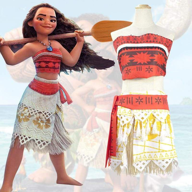 xcoser-de,Xcoser Disney Princess Moana Children Size Cosplay Costume With Hawaii Grass Skirts,Costumes