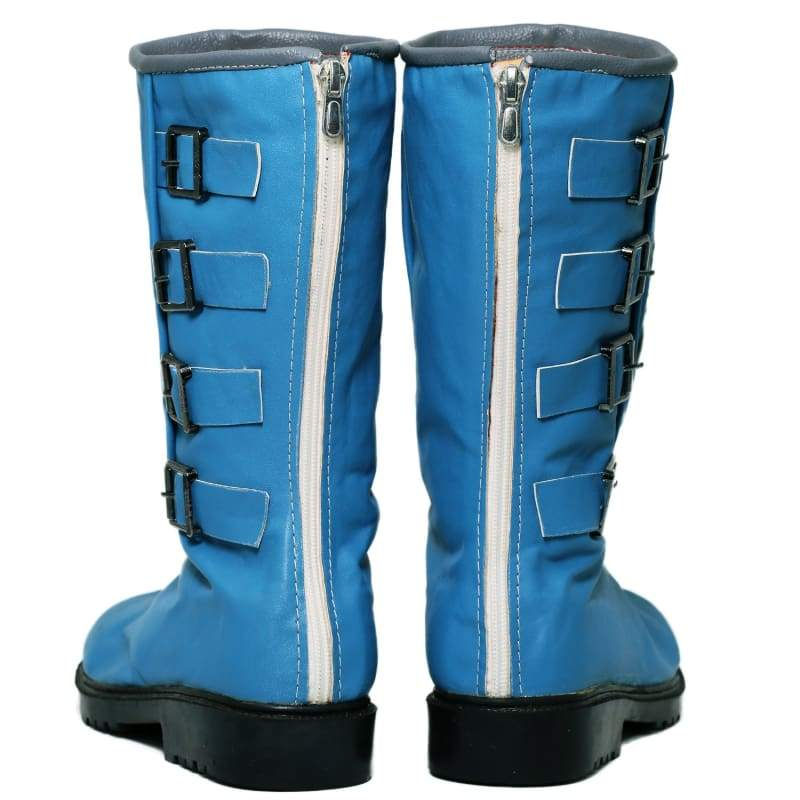 xcoser-de,Xcoser Dragon Ball Bulma Shoes Blue PU Cosplay Boots for Adults,Boots
