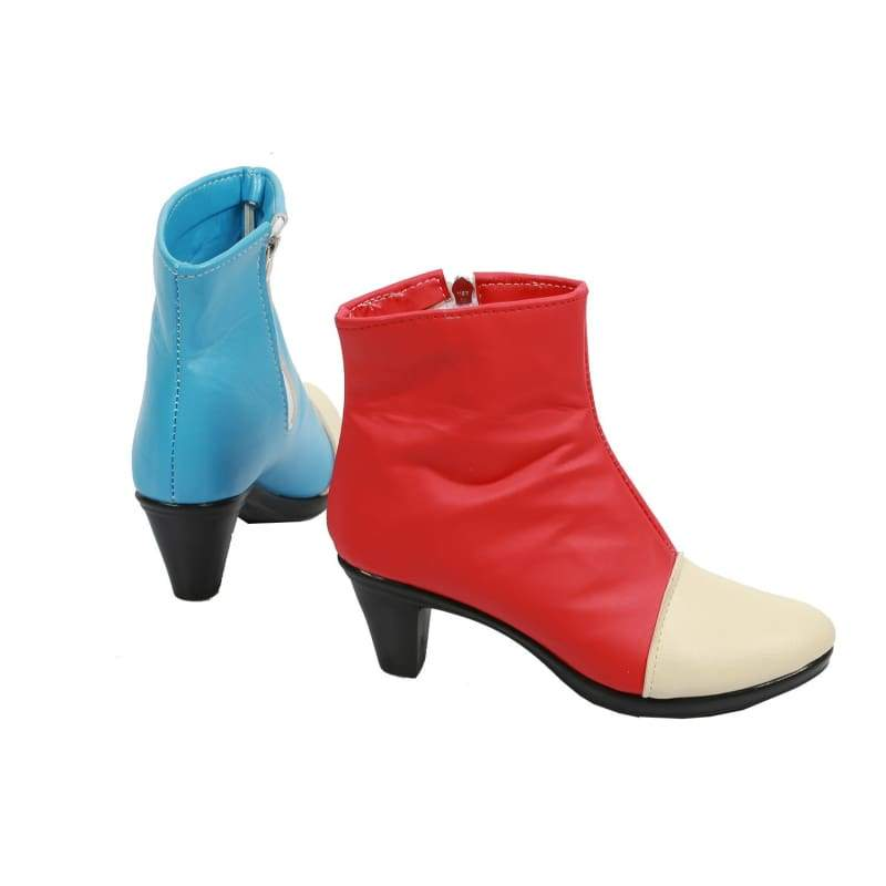 xcoser-de,Xcoser Dragon Ball Fighter Z Cosplay Android #21 Blue & Red PU Leather Boots,Boots