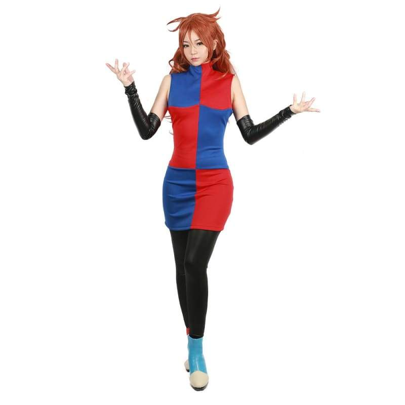 xcoser-de,Xcoser Dragon Ball Fighter Z Game Cosplay Android #21 Blue & Red Colour Block Full Set Costume,Costumes