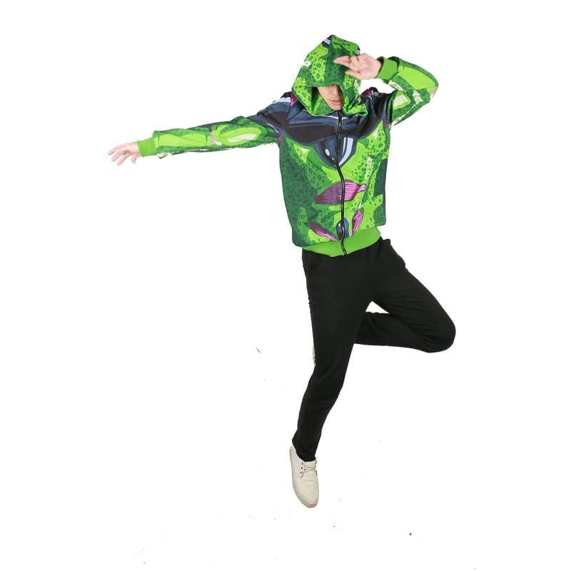 xcoser-de,Xcoser Dragon Ball FighterZ Game Cosplay Cell Green Loose-fitting Hoodie Costume,Hoodies